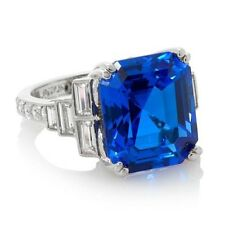 HSN Jean Dousset 11.18ct Absolute and Created Blue Spinel Cocktail Ring Size 7