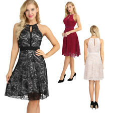 Vintage Women Swing Tea Dress Floral Lace Halter Pin Up Evening Party Housewife