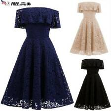 Womens Fashion Floral Lace Off Shoulder Evening Party Prom Cocktail Swing Dress