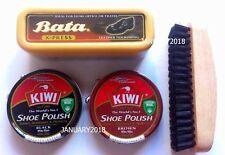 KIWI BLACK BROWN SHOE POLISH CREAM SHINE BRUSH CLEAN LEATHER BAG BRIEFCASE 45ML