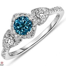 Natural 7/8CT Blue Diamond Center 3 Stone Engagement Ring 14k SOLID White Gold