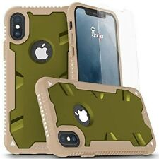 Heavy Duty iPhone X Case Cover with Tempered Glass Protective Armor Camo Green