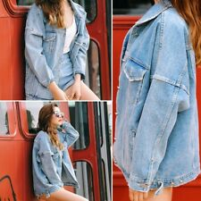 Womens Boyfriend Oversize Loose Jacket Casual Denim Jeans Coat Retro Outwear Lot
