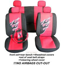 COMPLETE SET CAR SEAT COVERS front and rear FLAMES  + SWC + SBC choose
