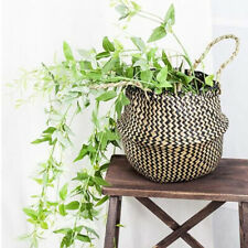 Handmade Foldable Plant Flower Pot Natural Seagrass Woven Basket Toy Storage