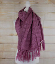 Handmade Womens Woven Mexican Rebozo Scarf Wrap Shawl Pink Dusty Rose