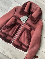"ALL SAINTS WOMEN'S RED ""ASHER"" SHEARLING LEATHER BIKER JACKET - XS & S NEW TAGS"