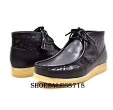 NEW BRITISH WALKERS ORIGINAL EXCLUSIVE BLACK OSTRICH PRINT LEATHER WALLABEES