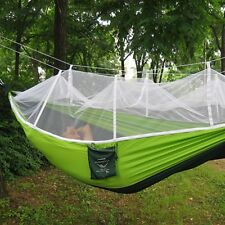 Single Person Portable Parachute Fabric Mosquito Net Hammock for Outdoor Relax