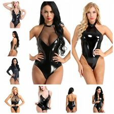Sexy Women Leather Gothic Catsuit Bodysuit Jumpsuit PVC Leotard Clubwear Costume