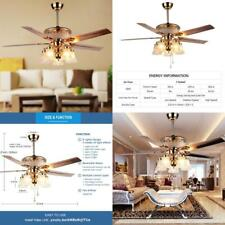 Modern Ceiling Fan Remote Control 5 Reversible Blades Less Noise Durable Crystal