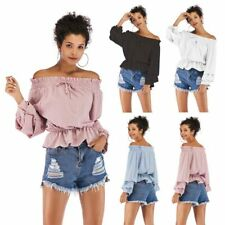 Blouse chiffon shirt summer Women boho loose casual off shoulder tops t shirt