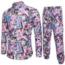 Luxury Men Print Set long sleeve T-shirt + Long Pant Casual Fashion Shirts Pants