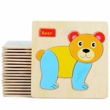 3D Wooden Puzzle Jigsaw Toys For Children Wood 3d Cartoon Animal Puzzles