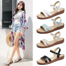 Womens Ladies Ankle Strap Slingback Sandals Open Toe Comfy Low Wedge Beach Shoes