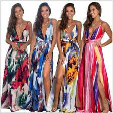 Party Sundress Boho Summer Cocktail Maxi Beach Floral Dress Long Women's Evening