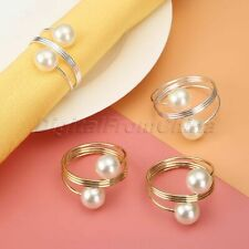 10X Wedding Dinner Serviette Buckle Holder Decoration Party Pearl Napkin Rings