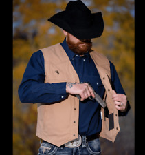 Wyoming Traders Mens Texas Concealed Carry Snap Up Canvas Western Vest