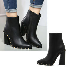 Ladies Black Party Ankle Boots Womens Block Chunky High Heel Side Zip Work Shoes