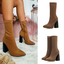 Ladies Zip Up Elastic Ankle Boots Women Pointed Toe High Block Heel Office Shoes