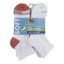 Fruit of the Loom Women's Ultra Soft Cushioned Sole Ankle Socks 10 Pack