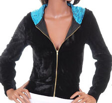 New Womens Hooded Active Jacket Top Black Blue S M L XL