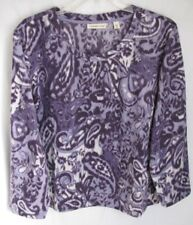 Coldwater Creek Muted Paisley Lt-weight Fleece Pullover