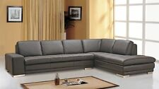 Block Italian Brown Leather Contemporary Sectional Sofa