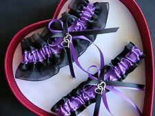 FREE SHI New Sexy Purple Black Wedding Garter DLB Heart