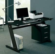computer desk pc table office furniture black glass home work station drawers black glass office desk