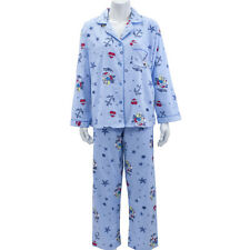 Leisureland Women Flannel Pajama Set Top Pants Nautical Anchor Sailing Blue