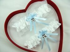 New Sexy White Blue Wedding Garter *30 charms to Select