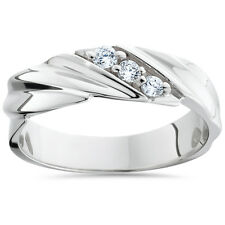 14KT MENS GENIUNE REAL DIAMOND RING .20CT PAVE CUT WEDDING BAND 14K WHITE GOLD