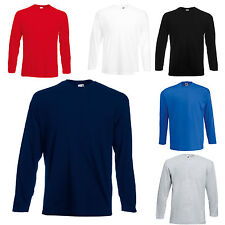 3 FRUIT OF THE LOOM LONG SLEEVE T SHIRTS 100% COTTON 5 COLOURS S M L XL XXL