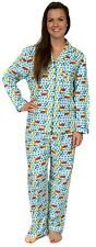 Leisureland Women's Flannel Pajamas Pyjama Set Top Pants Sleepy Kitty Cats Blue
