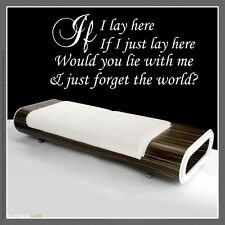 IF I LAY HERE Snow Patrol Lyrics wall at sticker Large decor deaign Quote