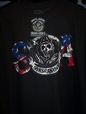SONS OF ANARCHY REAPER SOA FLAG DOUBLE SIDED PRINT T-SHIRT NEW !