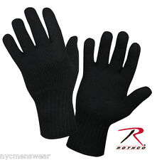 BLACK WOOL GLOVE LINERS , USA MADE , ARMY MILITARY GLOVE