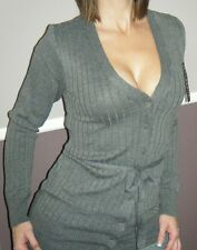 Very Sexy Low Cut V Neck Ribbed Knit Preppy Cardigan Shirt Top Charcoal S/M/L/XL