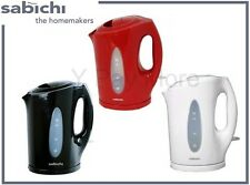1.7 Ltr Black Red & White Cordless Electric Kettle Plastic Jug Tea Coffee Water