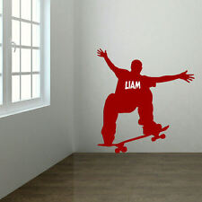 LARGE PERSONALISED SKATEBOARD SKATE BOARD WALL STICKER  UK  MATT NEW TRANSFER