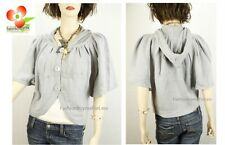 Gray Wool Cotton Knit Hooded Button-Down Jacket Shawl Sweater Cardigan Top S M L