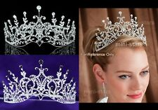 Bridal Wedding Pageant Beauty Contest Crystal Silver / Black Tall Tiara Crown
