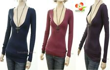 G4 Outlaw Long Sleeve Cotton Stretch deep V-Neck Knit Top Fitted Tee Shirt S M L