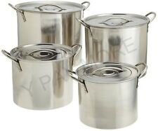 Stainless Steel Deep Stock Soup Pot Saucepan Pan Set Catering Boiling Casserole