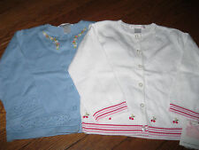NWT Janie and Jack Cherry Stand Fancy Sweater,Cardigan White or Blue Girl 18-24