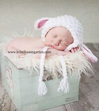 ILC Crochet CUSTOM SIZE Spring Lamb Baby Hat Photo Prop Shower Gift ~Flower Clip