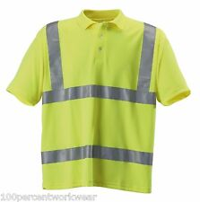 Blackrock High Vis Viz Visibility Yellow Work Polyester Polo Shirt Short Sleeve