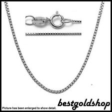 0.60mm 14K WHITE GOLD Classic Square Box Chain Necklace with Spring Ring Clasp
