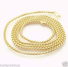 2.5mm ROUND BOX CHAIN Necklace Real 14K Yellow Gold with Lobster Claw Clasp